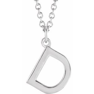 """Sterling Silver Initial D Dangle 18"""" Necklace"""
