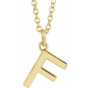 """14K Yellow Initial F Dangle 16"""" Necklace"""