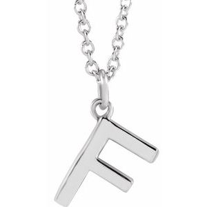 """14K White Initial F Dangle 18"""" Necklace"""