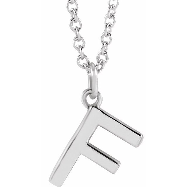 Sterling Silver Initial F Dangle 18