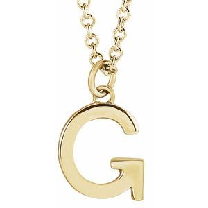 "14K Yellow Initial G Dangle 18"" Necklace"