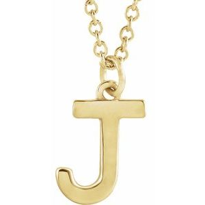 "14K Yellow Initial J Dangle 16"" Necklace"