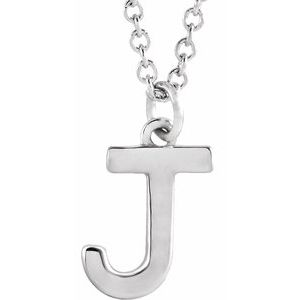 "14K White Initial J Dangle 16"" Necklace"