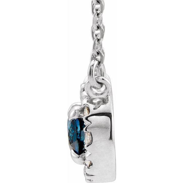 14K White 6x4 mm Oval Blue Sapphire & 1/10 CTW Diamond 18