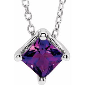 "14K White Amethyst Solitaire 16-18"" Necklace"
