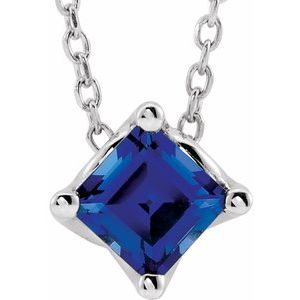 "14K White 4.5x4.5 mm Square Chatham® Lab-Created Blue Sapphire Solitaire 16-18"" Necklace"