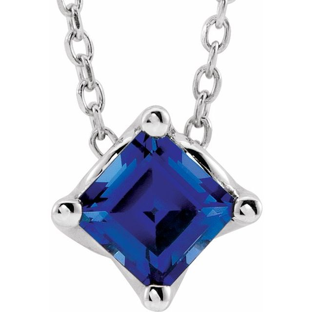 14K White 4.5x4.5 mm Square Lab-Grown Blue Sapphire Solitaire 16-18