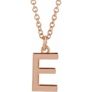 "14K Rose Initial E Dangle 18"" Necklace"