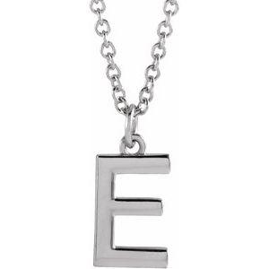 "14K White Initial E Dangle 16"" Necklace"