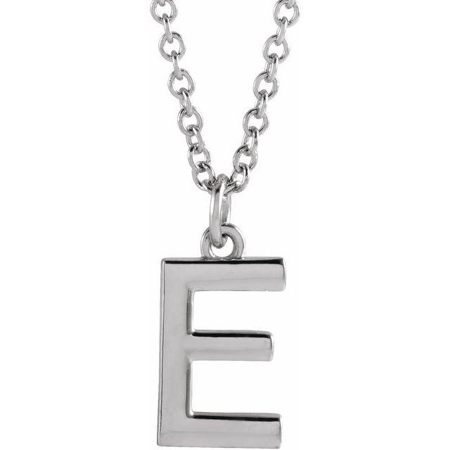 Sterling Silver Initial E Dangle 16