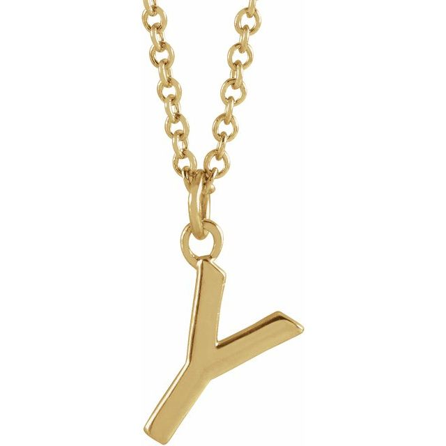 """14K Yellow Initial Y Dangle 16"""" Necklace"""