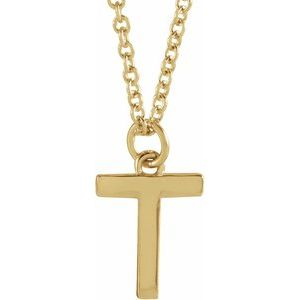 "14K Yellow Initial T Dangle 16"" Necklace"