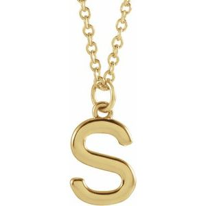 "14K Yellow Initial S Dangle 18"" Necklace"