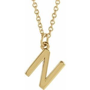 "14K Yellow Initial N Dangle 18"" Necklace"