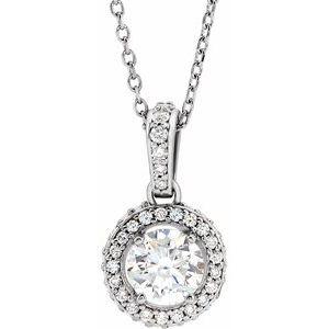 "14K White 3/8 CTW Diamond 18"" Necklace"