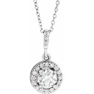 "14K White 1/2 CTW Diamond Halo-Style 18"" Necklace"