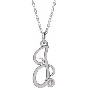 "Sterling Silver .02 CT Diamond Script Initial J 16-18"" Necklace"