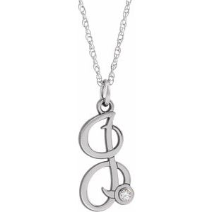 "14K White .02 CT Diamond Script Initial I 16-18"" Necklace"