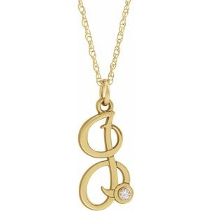 "14K Yellow .02 CT Diamond Script Initial I 16-18"" Necklace"