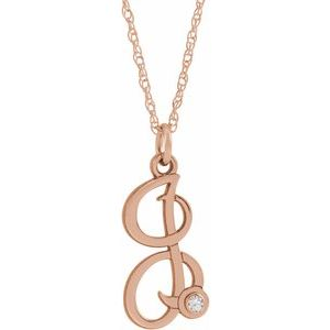 "14K Rose Gold-Plated Sterling Silver .02 CT Diamond Script Initial I 16-18"" Necklace"