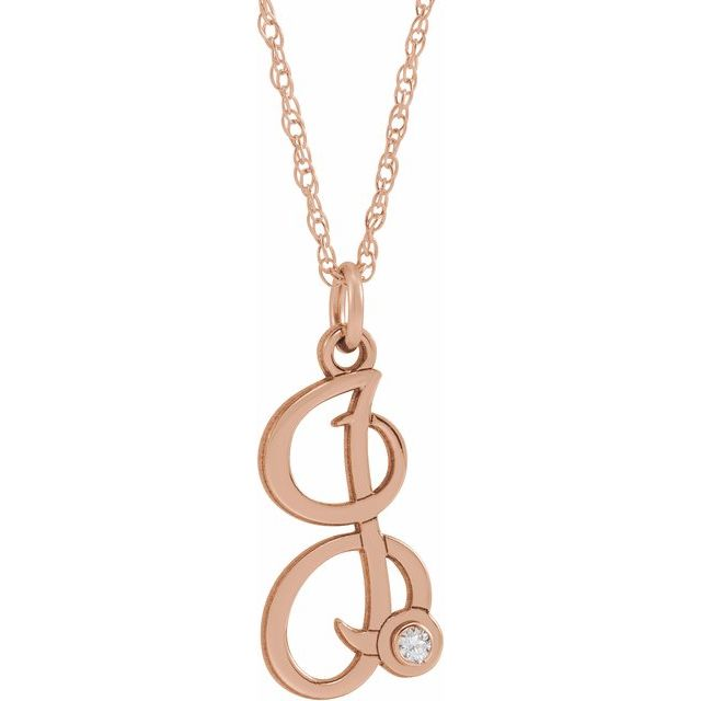 14K Rose Gold-Plated Sterling Silver .02 CT Diamond Script Initial I 16-18