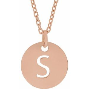 "18K Rose Gold-Plated Sterling Silver Initial S 10 mm Disc 16-18"" Necklace"