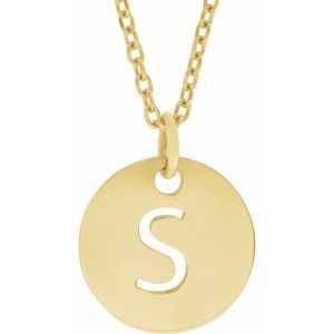 "18K Yellow Gold-Plated Sterling Silver Initial S 10 mm Disc 16-18"" Necklace"