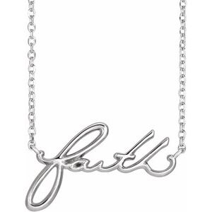 "Sterling Silver Faith 16"" Necklace"