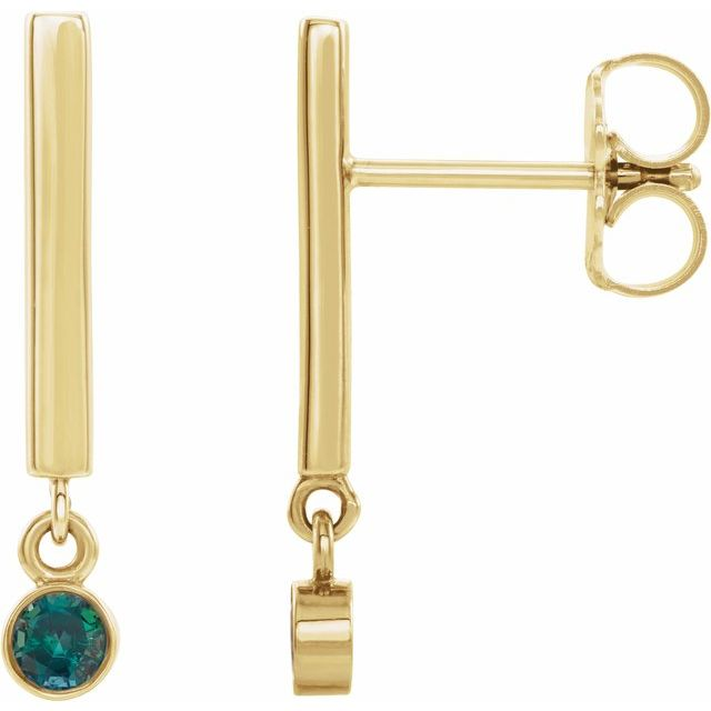14K Yellow Alexandrite Bar Earrings