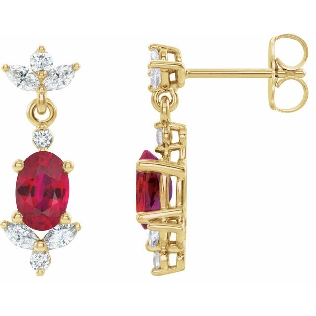14K Yellow Ruby &  1/3 CTW Diamond Earrings