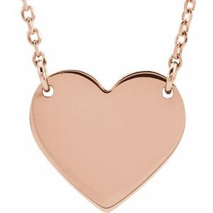 "18K Rose Gold-Plated Sterling Silver 8x7.2 mm Heart 16-18"" Necklace"