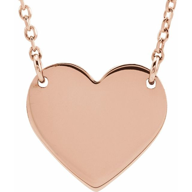 18K Rose Gold-Plated Sterling Silver 8x7.2 mm Heart 16-18