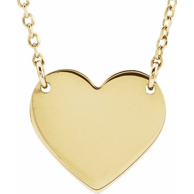 18K Yellow Gold-Plated Sterling Silver 8x7.2 mm Heart 16-18