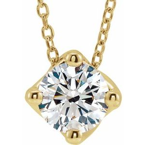 "14K Yellow 1/2 CT Diamond Solitaire 16-18"" Necklace"