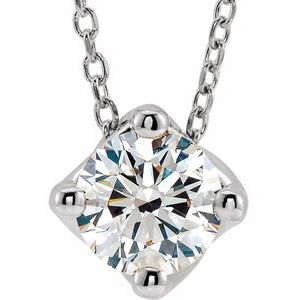 "14K White 1/2 CT Diamond Solitaire 16-18"" Necklace"