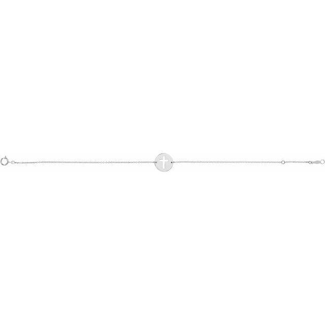 Sterling Silver Pierced Cross Disc 7-8