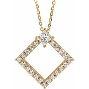 """14K Yellow 5/8 CTW Diamond 16-18"""" Necklace"""
