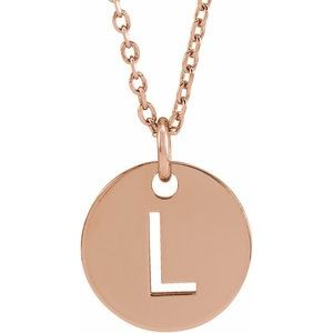 """18K Rose Gold-Plated Sterling Silver Initial L 10 mm Disc 16-18"""" Necklace"""