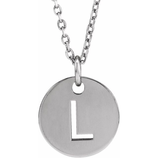 Sterling Silver Initial L 10 mm Disc 16-18
