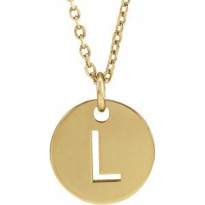 """14K Yellow Initial L 10 mm Disc 16-18"""" Necklace"""