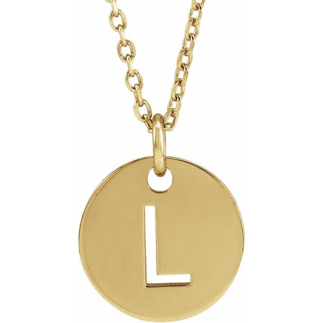18K Yellow Gold-Plated Sterling Silver Initial L 10 mm Disc 16-18