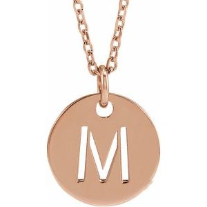 """14K Rose Initial M 10 mm Disc 16-18"""" Necklace"""