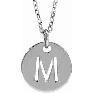 "Sterling Silver Initial M 10 mm Disc 16-18"" Necklace"