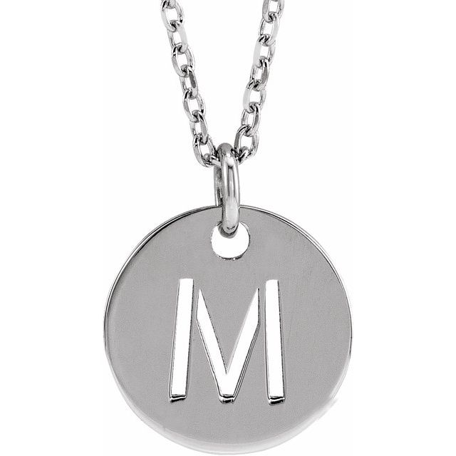 Sterling Silver Initial M 10 mm Disc 16-18