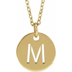 "14K Yellow Initial M 10 mm Disc 16-18"" Necklace"
