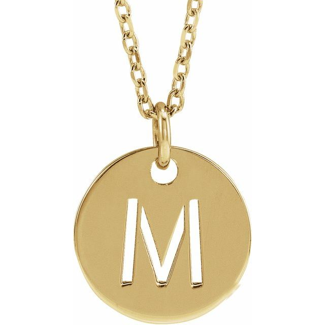18K Yellow Gold-Plated Sterling Silver Initial M 10 mm Disc 16-18