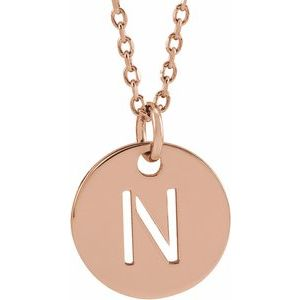 """18K Rose Gold-Plated Sterling Silver Initial N 10 mm Disc 16-18"""" Necklace"""