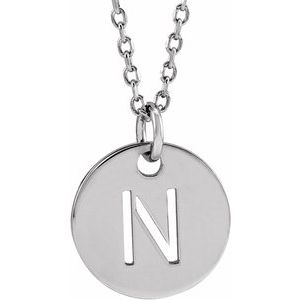 """Sterling Silver Initial N 10 mm Disc 16-18"""" Necklace"""