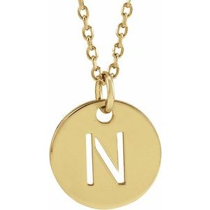 """18K Yellow Gold-Plated Sterling Silver Initial N 10 mm Disc 16-18"""" Necklace"""