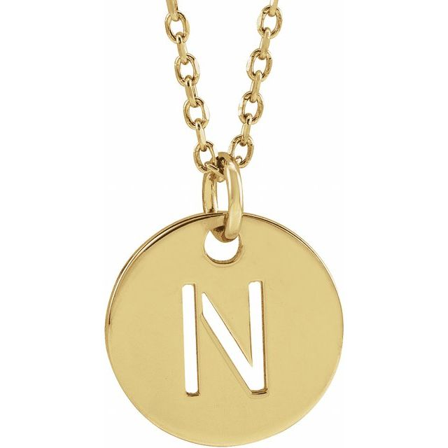 18K Yellow Gold-Plated Sterling Silver Initial N 10 mm Disc 16-18
